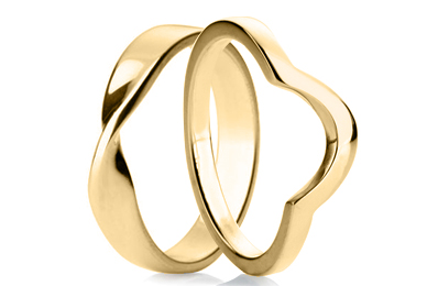 Shaped Yellow Gold Rings