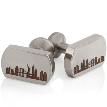 New York Skyline Laser Engraved Titanium Cuff Links
