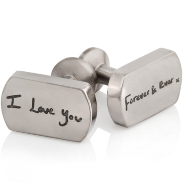 Titanium Cuff Links with I Love You Forever and Ever