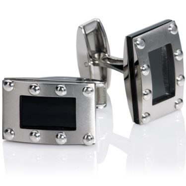 Titanium Rectangle Black IP Plating Cufflinks