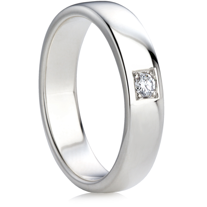 Brilliant Cut Diamond Set Double Comfort Wedding Ring