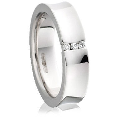 Brilliant Cut Diamond Set Concave Wedding Ring