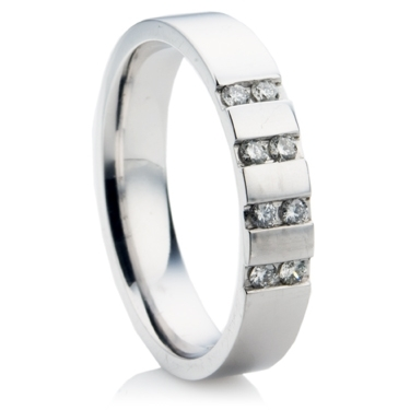 Wedding Ring with 4 Rows of Brilliant Cut Diamond Pairs