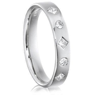 Brilliant and Princess Cut Diamond Ring