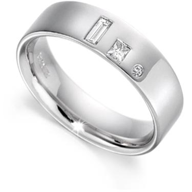 Baguette, Brilliant and Princess Cut Diamond Set Ring