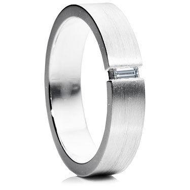 Baguette Cut Diamond Set Wedding Ring - Flat