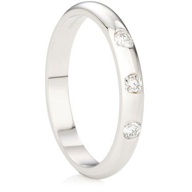 Brilliant Cut Triple Diamond D-Shape Ring