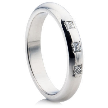 Princess Cut Diamond Set Medium D-Shape Wedding Ring