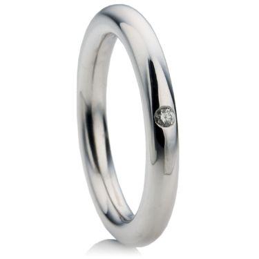 Brilliant diamond set 3mm halo wedding ring