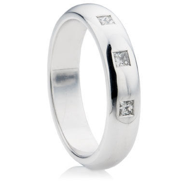 Princess Cut Diamond Medium D-Shape Wedding Ring