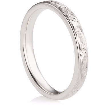 2.5mm Decorative Hand Carved Wedding Ring