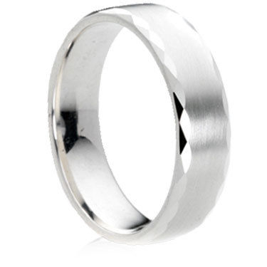 Facet Edge Matt Finish Gold Wedding Ring