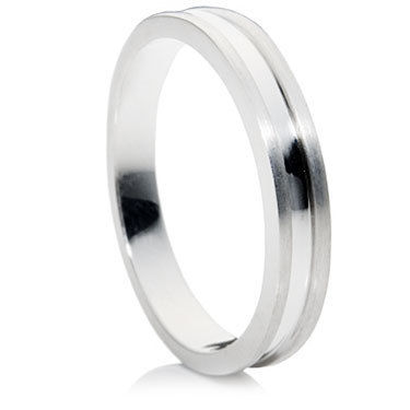 Polished Groove Flat Wedding Ring