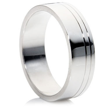 Polished Offset Lined Groove Wedding Ring