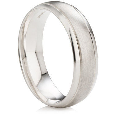Wedding Ring with Satin Centre and Polished Edges