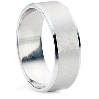 Bevelled Edge and Brushed Matt Finish Wedding Ring