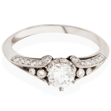 Vintage Brilliant Cut Diamond Ring with Diamond Set Shoulders