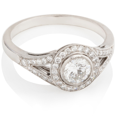 Halo Engagement Ring with Brilliant Cut Diamonds
