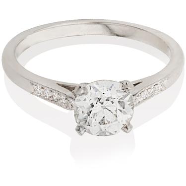 Brilliant Cut Solitaire Engagement Ring with Diamond Set Shoulders