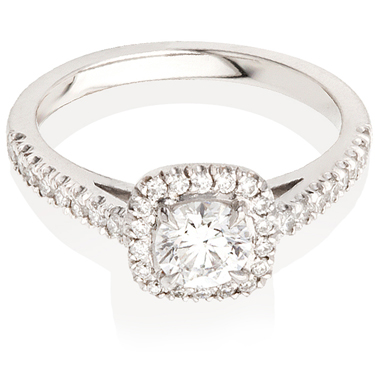 Cushion Cut Solitaire Engagement Ring with Diamond Set Shoulders