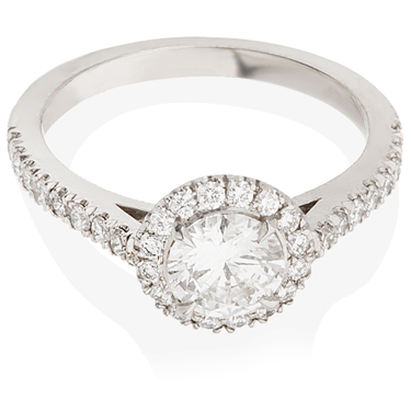 Halo Engagement Ring with Diamond Set Shoulders