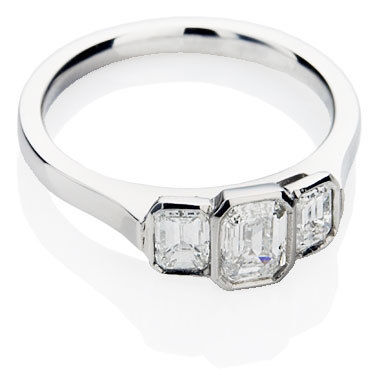 Trilogy Engagement Ring - Bespoke Design with Emerald Cut Diamonds
