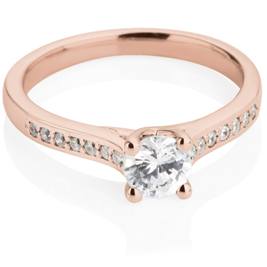 Rose Gold Brilliant Cut Solitaire Engagement Ring with Diamond Shoulders