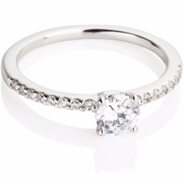 Diamond Set Engagement Ring with Diamond Set Shoulders