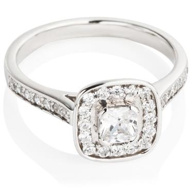 Cushion Cut Diamond Engagement Cluster Ring
