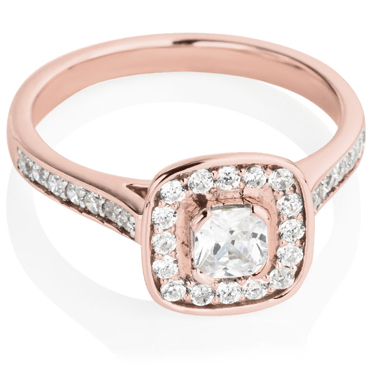 Rose Gold Cushion Cut Diamond Engagement Cluster Ring