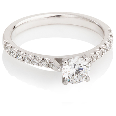 Engagement Ring with Diamond Set Shoulders