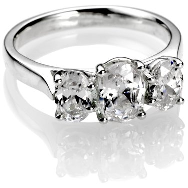 Oval Cut Trilogy Diamond Engagement Ring