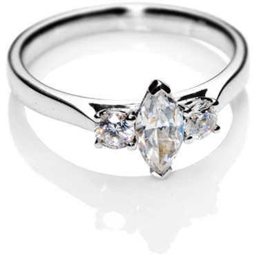 Marquise Cut Trilogy Diamond Engagement Ring