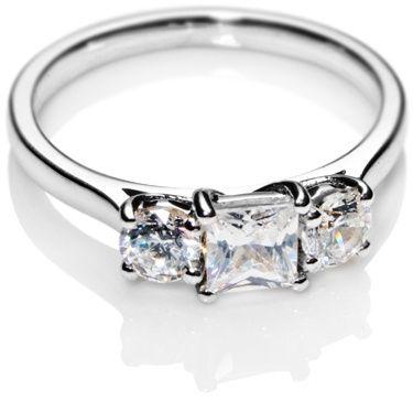 Princess Cut Trilogy Diamond Engagement Ring