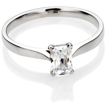 Emerald Cut Diamond Solitaire Engagement Ring