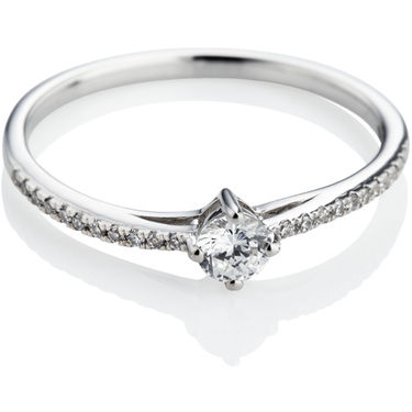 Brilliant Cut Diamond Engagement Ring with Diamond Shoulders