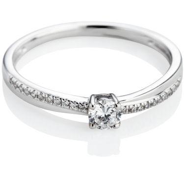 Brilliant Cut Diamond Engagement Ring with Diamond Shoulders