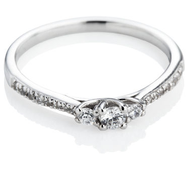Brilliant Cut Trilogy Ring with Diamond Set Shoulders