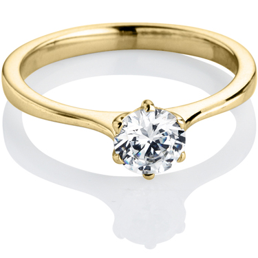 Yellow Gold Brilliant Cut Diamond Engagement Ring