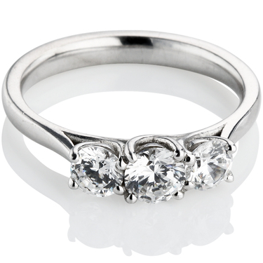 Brilliant Cut Trilogy Engagement Ring