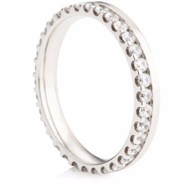 Claw Set Brilliant Cut Diamond Eternity Ring with Offset Diamonds