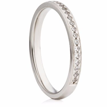 Brilliant Cut Diamond Grain Set Half Eternity Ring