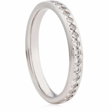 2.5mm Brilliant Cut Grain Set Half Eternity Ring