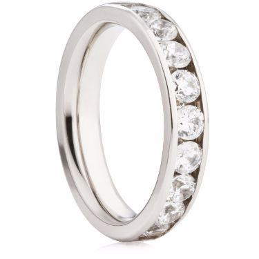 4mm Half Eternity Ring with Channel Set Brilliant Cut Diamonds