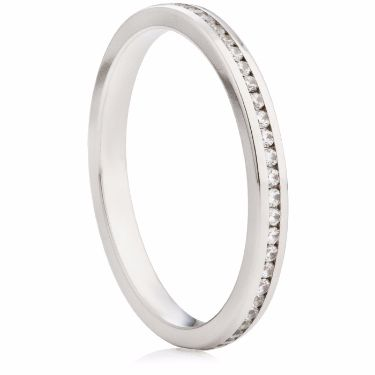 2mm Channel Set Brilliant Cut Half Eternity Ring