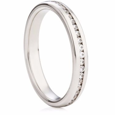 3mm Channel Set Brilliant Cut Half Eternity Ring