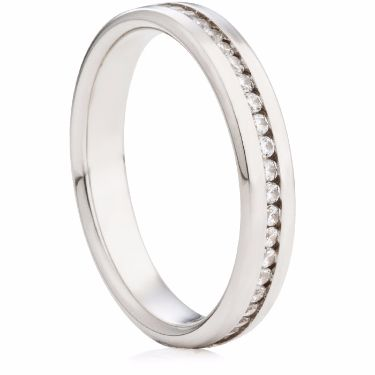 3.5mm Channel Set Brilliant Cut Half Eternity Ring