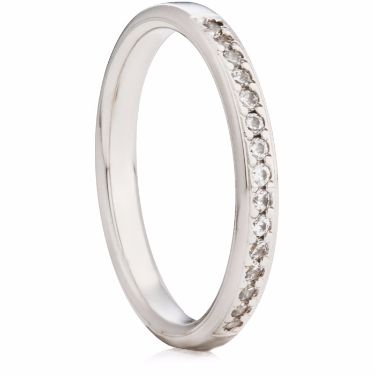 Grain Set Brilliant Cut Diamond Half Eternity Ring