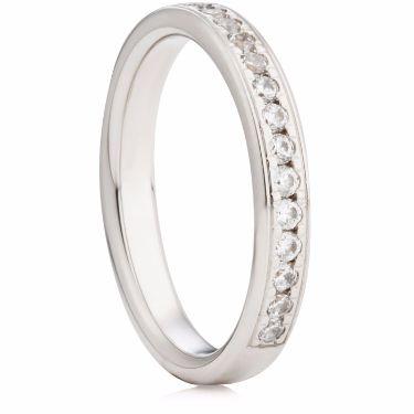 3mm Wide Brilliant Cut Grain Set Half Eternity Ring