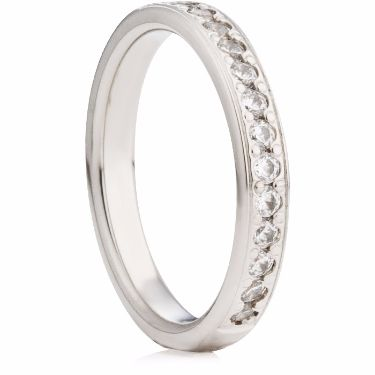 3mm Brilliant Cut Diamond Grain Set Half Eternity Ring